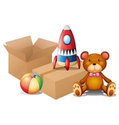 Different toys with two boxes vector image vector image
