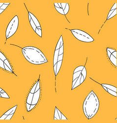 doodle stylized leaves seamless pattern hand vector image