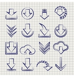 Downloading icons set on notebook background vector