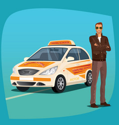 Driving instructor with school vehicle vector