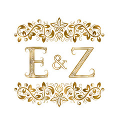 e and z vintage initials logo symbol vector image