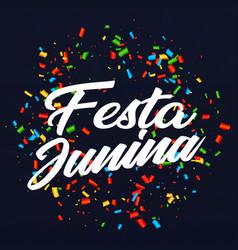 festa junina colorful ribbon black background vect vector image