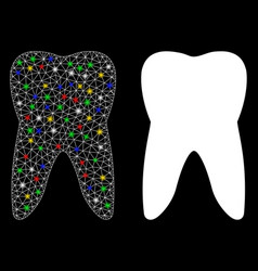 Flare mesh carcass tooth icon with flare spots vector