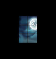 Full moon window view moonlight twilight vector
