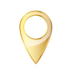 Golden map pointer icon vector