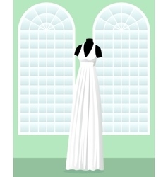 Greek wedding dress on mannequin in saloon vector