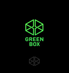 Green box logo web online shop vector