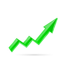 Green indication arrow moving up 3d financinal vector