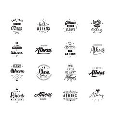 greeting cards design isolated logos typography vector image