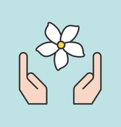 Hand and jasmine flower filled outline icon vector