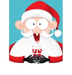 Happy Santa Claus with Gift Cartoon vector image