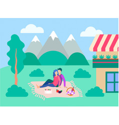 he concept of a happy family and outdoor vector image