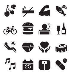 healthy icons set 2 vector image