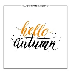 Hello autumn lettering with black splashes vector