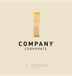 i company logo design with visiting card vector image