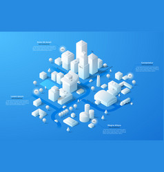 isometric white city template vector image