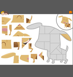 Jigsaw puzzle game with puppy vector