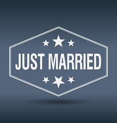 Just married hexagonal white vintage retro style vector