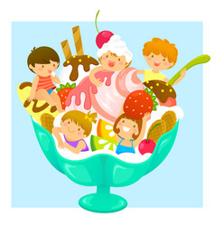 kids in ice cream vector image