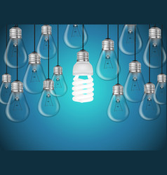 Lightbulbs on blue background idea concept vector