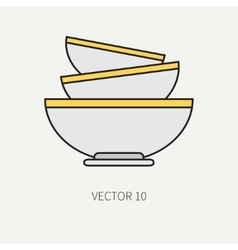 Line flat color kitchenware icons - bowl vector image