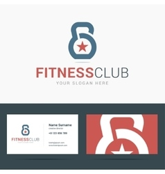 Logo and business card template for fitness club vector image