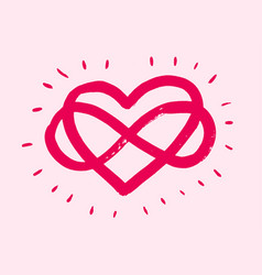 Love heart in sign infinity sign vector