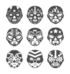 Lucha libre mexican wrestling masks icons set vector image