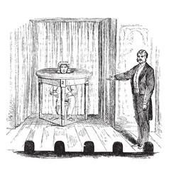 Magician conducting a magic show vintage engraving vector