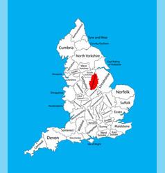 Map nottinghamshire in east midlands uk vector