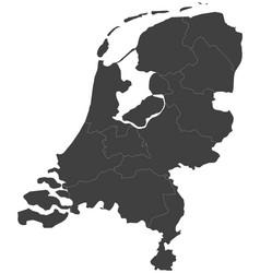 Map of netherlands split into regions vector