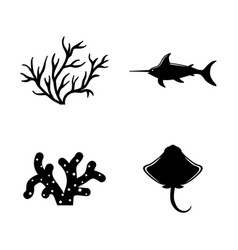 marine life underwater inhabitants simple related vector image
