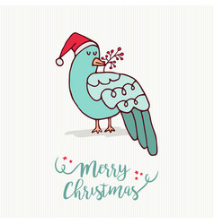 merry christmas card cute santa claus bird cartoon vector image