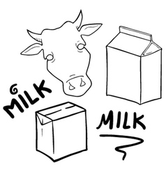 milk symbols set collection vector image
