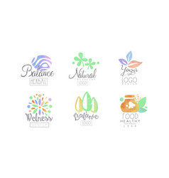 Natural medicine logo design collection wellness vector