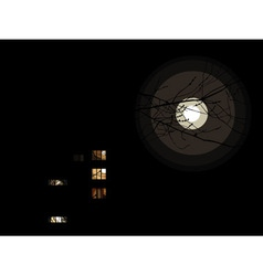 night with the full moon and the lights in the wi vector image