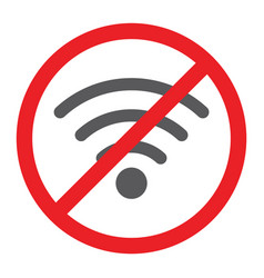No wifi glyph icon prohibited and ban internet vector