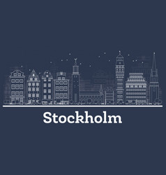 outline stockholm sweden city skyline with white vector image