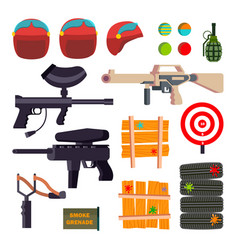 paintball icons set paintball game vector image