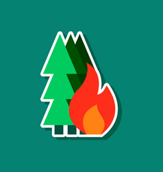paper sticker on stylish background of forest fire vector image