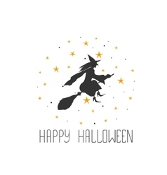 Postcard with witch and text Happy Halloween vector image