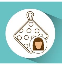 Pot holder icon female avatar blue background vector
