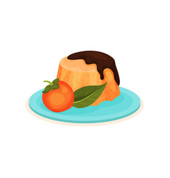pudding with chocolate topping and whole persimmon vector image