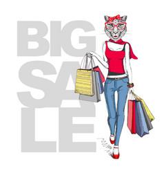 Retro hipster animal girl cheetah big sale vector