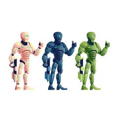 robotic soldiers with plasma gun cartoon vector image