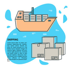 sea freight banner or poster template with place vector image