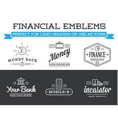 set of banking finance money signs payments and vector image
