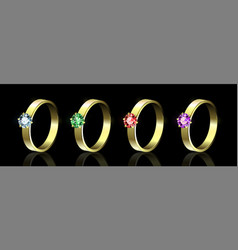 Set of rings with colored gems on black background vector