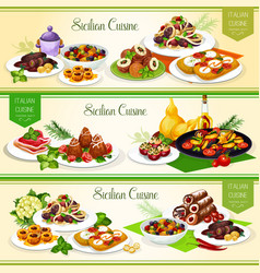 sicilian italian cuisine dishes and desserts vector image