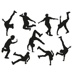 Silhouette of a Guy Break Dancing vector